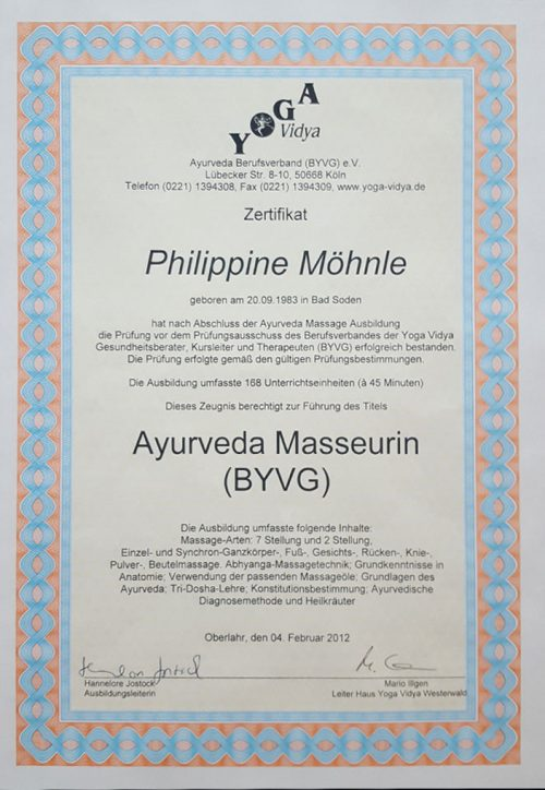 Zertifikat Ayurveda Masseurin Zertifikat